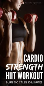 Cardio strength HIIT workout at home pinterest