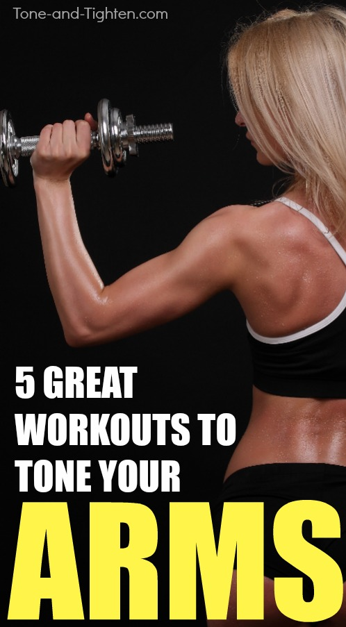 5 great arm workouts you can do at home with just a pair of dumbbells! From Tone-and-Tighten.com