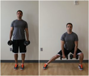 side lunge exercise dumbbells