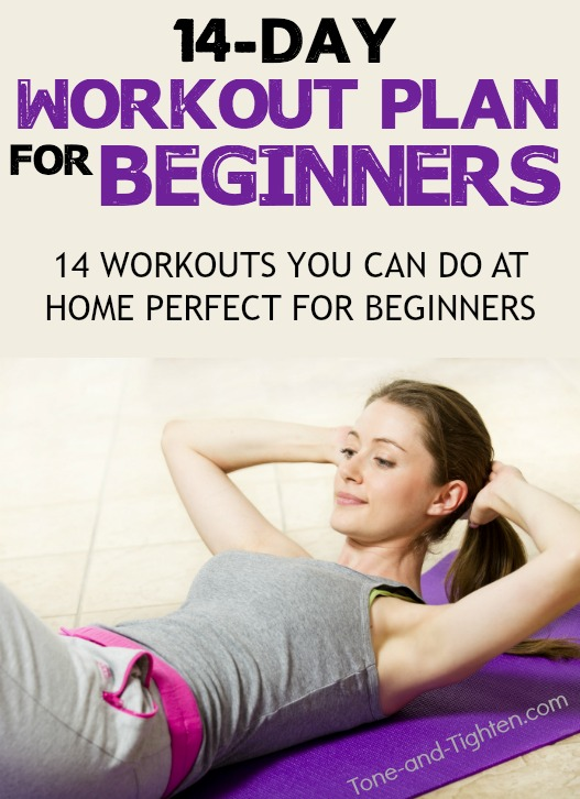 14-Day at-home workout plan that is perfect for beginners! All yours, all free! Check it out from Tone-and-Tighten.com