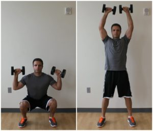 dumbbell thruster exercise