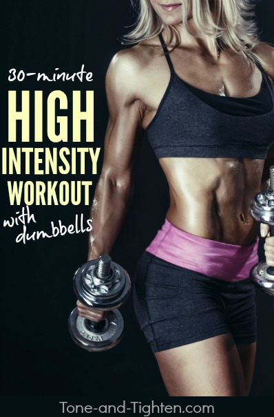 Shred a ton of calories in a hurry while sculpting sexy lean muscle definition using just a pair of dumbbells! Workout from Tone-and-Tighten.com