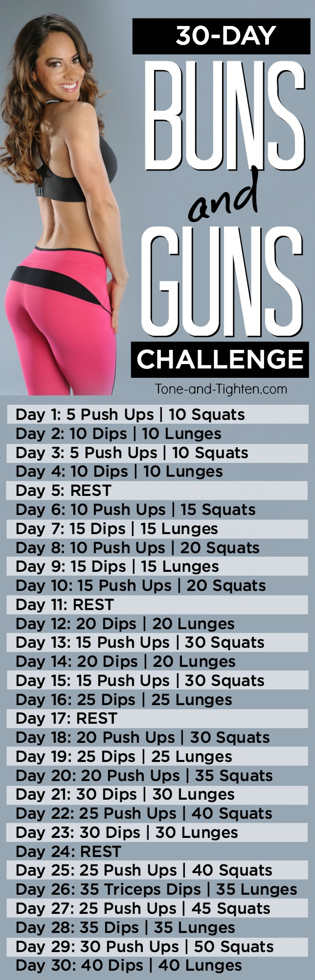 30-Day challenge to tone your arms and sculpt your butt! From Tone-and-Tighten.com