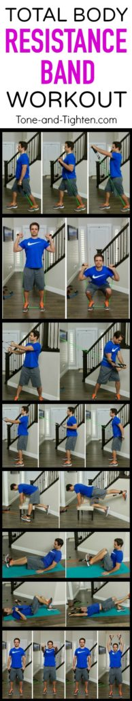 Awesome total-body resistance band workout you can do at home! The best compound exercises for maximum results! From Tone-and-Tighten.com
