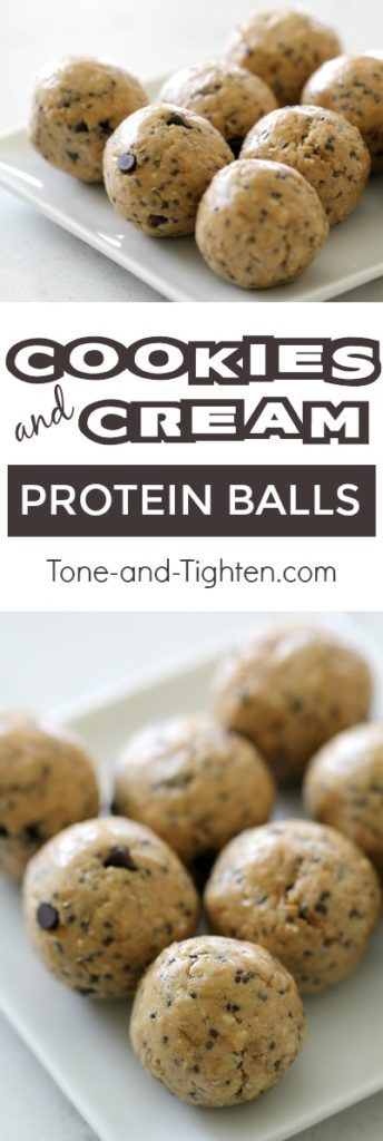 Healthy, delicious, and 5 minutes to make! Cookies and Cream protein balls healthy snack recipe from Tone-and-Tighten.com