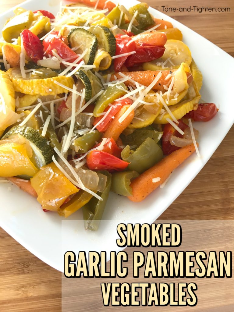 Delicious and healthy Smoked Garlic Parmesan Vegetable Recipe! Simple and easy grilled veggies from Tone-and-Tighten.com