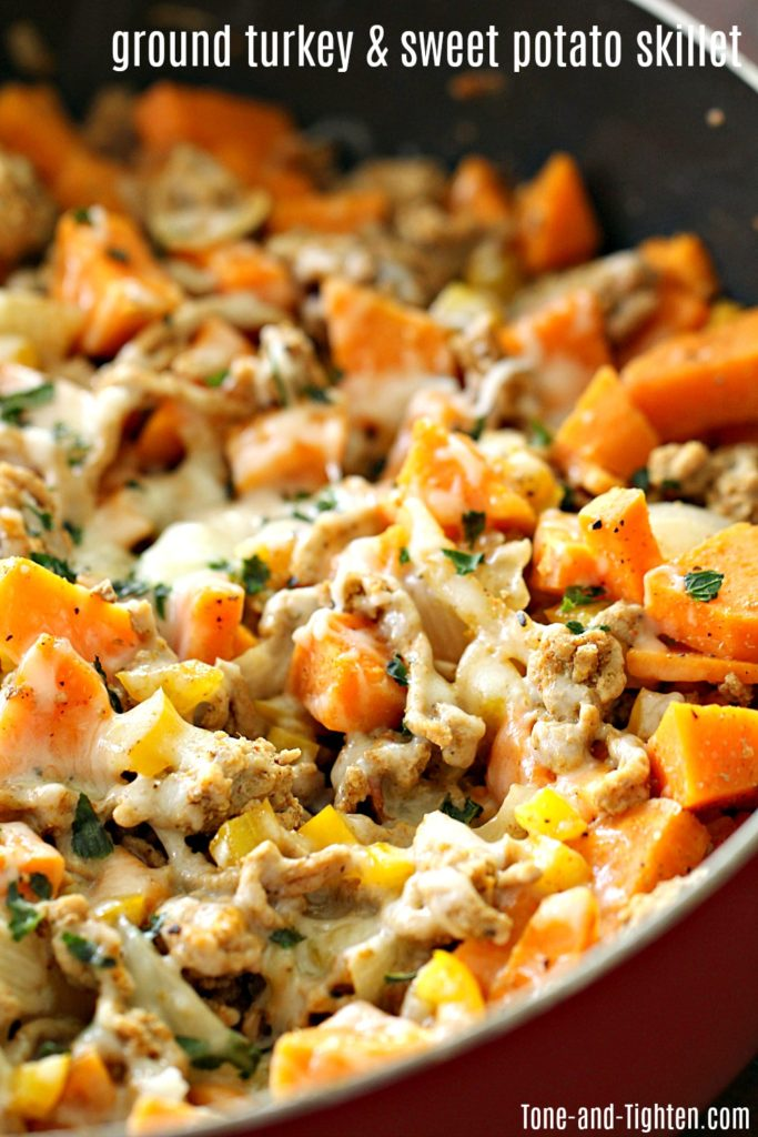 healthy ground turkey and sweet potato skillet
