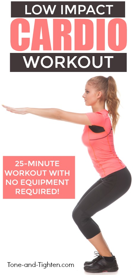 Low impact indoor cardio workout for beginners! Simple exercises to sculpt muscle and increase strength. From Tone-and-Tighten.com