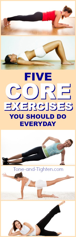 5 of the best exercises to tone and strengthen your core! Core workout from Tone-and-Tighten.com