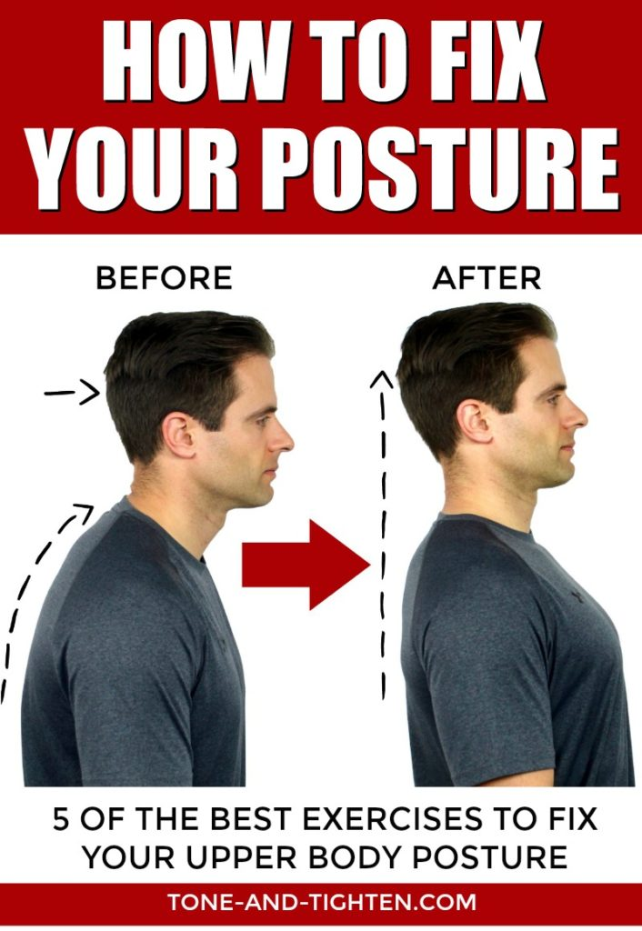 How to correct poor posture - 5 great home exercises to improve your posture! From Tone-and-Tighten.com