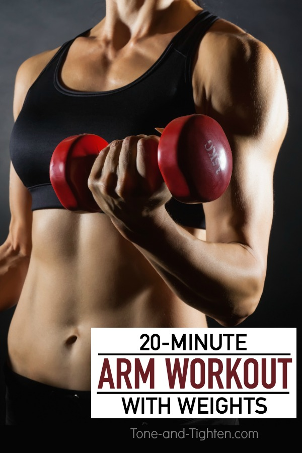 20-minute workout with weights to tone and tighten your arms! Works biceps, triceps, and shoulders in one amazing workout.