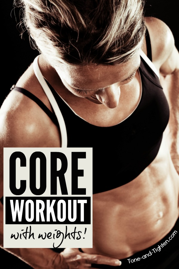 15-Minute Core Workout With Weights - 6 of the best dumbbell exercises to tone your abs and tighten your six pack.