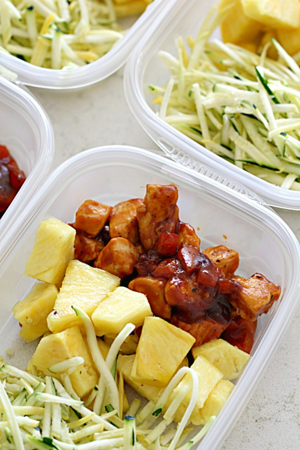 Hawaiian Bbq Chicken And Pineapple Bowls Meal Prep Idea Tone And