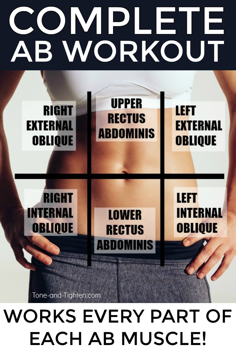 Complete ab workout at home! Workout and tips to take your abs to the next level from Tone-and-Tighten.com